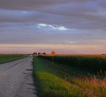 Sunset Harvest Country Gravel Road by Geoffrey