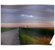 Sunset Harvest Country Gravel Road Poster