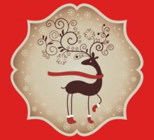 Elegant Reindeer Christmas Card - Happy Holidays Kids Tee