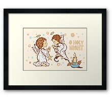 Cute Angels Christmas Card - O Holy Night Framed Print