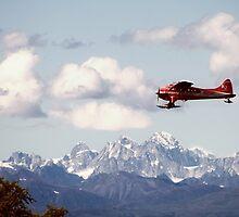 Dehaviland Beaver Flying over the Alaska Range by SwainPhotography