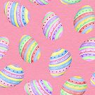 Fun Easter egg design in colourful stripes of blue, red, purple, green and yellow with a pink background, watercolour by Sandra O'Connor