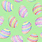 Fun Easter egg design in colourful blue, red, purple, green and yellow stripes with a green background, watercolour by Sandra O'Connor