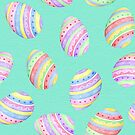 Fun Easter egg design in yellow, red, green, blue, pink and purple stripes on a mint green background by Sandra O'Connor