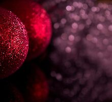Christmas baubles decoration on defocused lights background by GemaIbarra