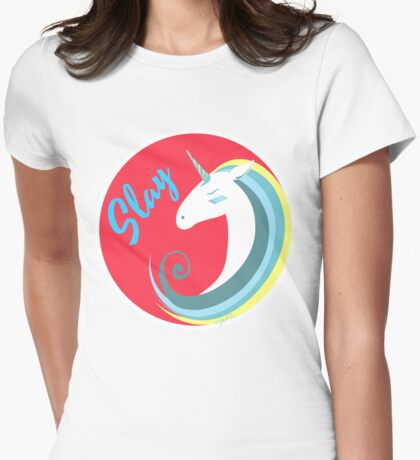 Magical Unicorn, slay! Womens Fitted T-Shirt
