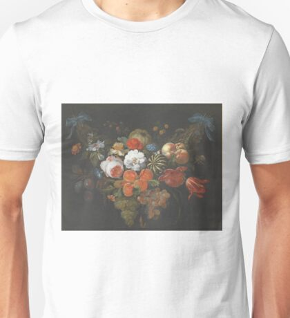 Abraham Mignon - Garland Of Fruit And Flowers Late 1660s Unisex T-Shirt