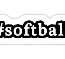 Softball - Hashtag - Black & White Sticker