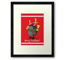 Rudolph the Red Nosed Hedgehog wishes You a Merry Christmas! Framed Print