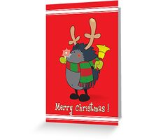 Rudolph the Red Nosed Hedgehog wishes You a Merry Christmas! Greeting Card