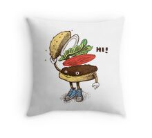 Burger Greeting Throw Pillow