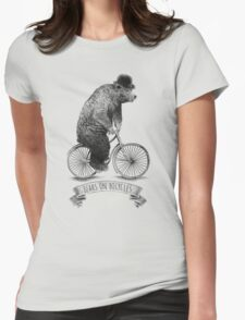 Bears on Bicycles (lime option) Womens Fitted T-Shirt