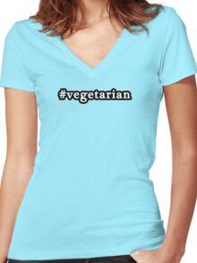 Vegetarian - Hashtag - Black & White Women's Fitted V-Neck T-Shirt