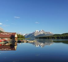 Maligne Lake Boat House by Carrie Cole