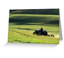 Sunset Mowing Greeting Card