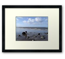 On the beach with Laddie. Framed Print