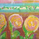 three pink and yellow roses  by candace lauer