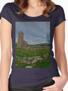 Glencolmcille Panorama with Church Women's Fitted Scoop T-Shirt