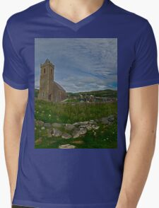 Glencolmcille Panorama with Church Mens V-Neck T-Shirt