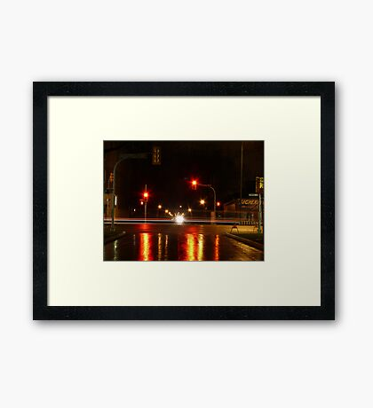 Portage Ave at Night Framed Print