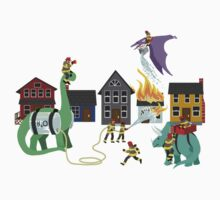 Firefighters and Dinosaurs, Together at Last Kids Clothes