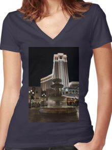 Night Glow at the Venetian Las Vegas Women's Fitted V-Neck T-Shirt