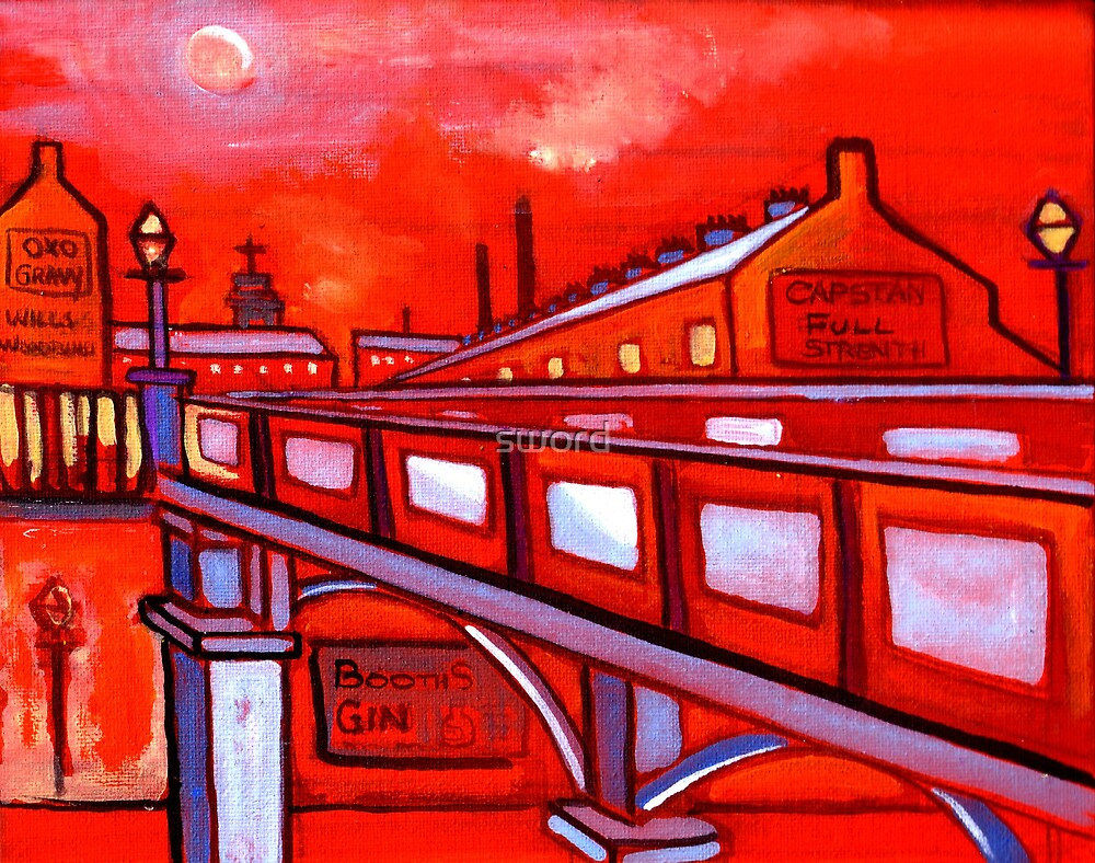 Bridge over a river in north east England  (from my original acrylic painting) by sword