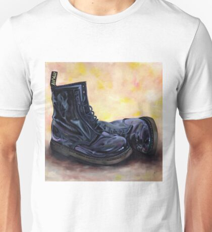 A Pair of Patent Black Dr Martens Unisex T-Shirt