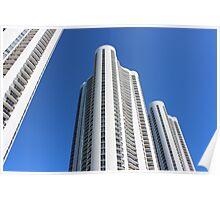 White High rise building luxury Miami Poster