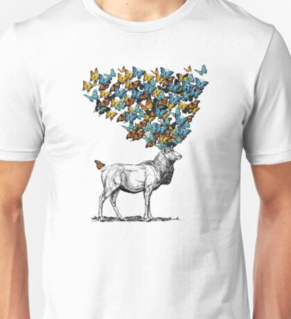 Elk with butterfly antlers Unisex T-Shirt