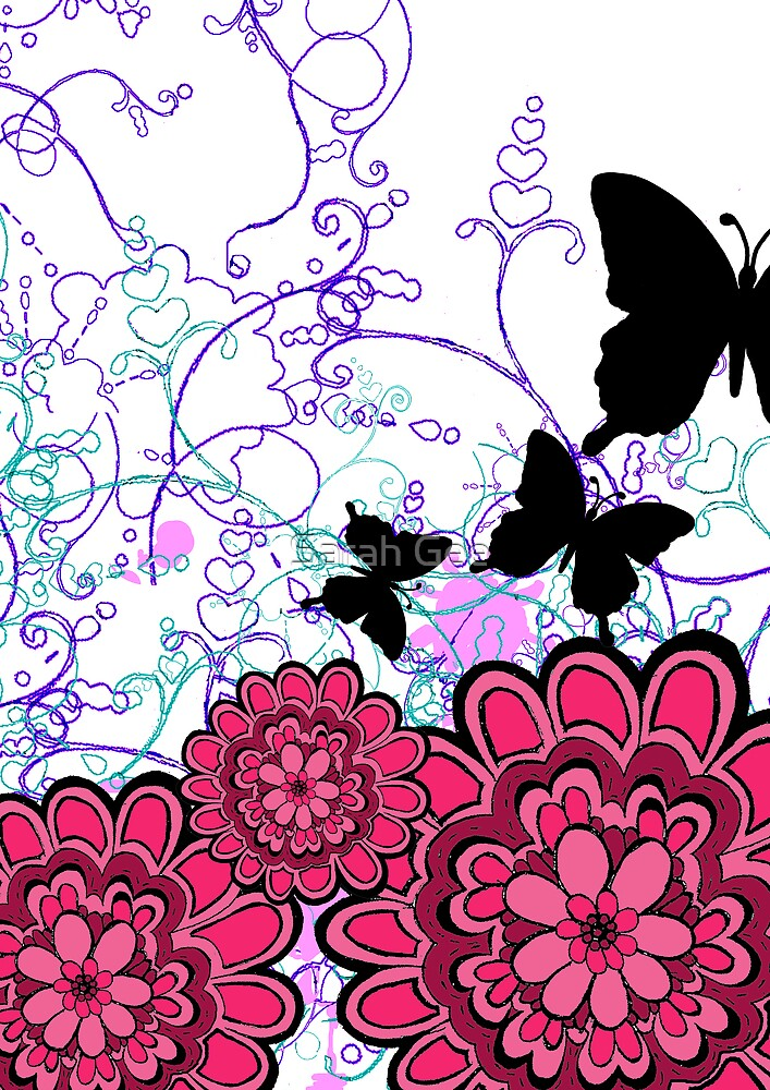 Pink butterfly garden by Sarah Gee