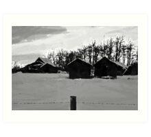 Little Shacks In The Winter - Digital Oil Art Print