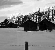 Little Shacks In The Winter - Digital Oil by Sandra Foster