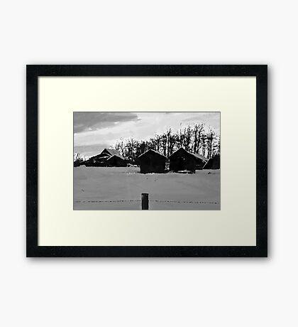 Little Shacks In The Winter - Digital Oil Framed Print
