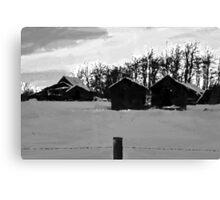 Little Shacks In The Winter - Digital Oil Canvas Print