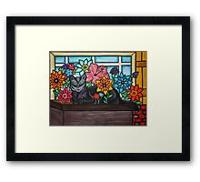 Purrrfect Perch - Oil Pastels on Canvas Paper Framed Print