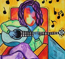 Lounge Music - Oil Pastels on Mixed Media Paper by morningcoffee