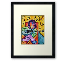 Lounge Music - Oil Pastels on Mixed Media Paper Framed Print