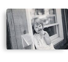 Baby Girl with Ice Cream Canvas Print