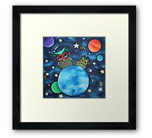 Exploring Space Just Daddy and Me - Acrylics on Canvas Framed Print