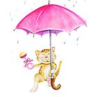 Showering kitty cat with baby rattle by Sarah Trett