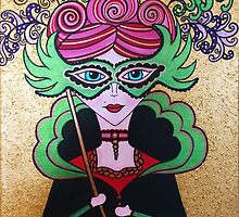 Miss Masquerade - Acrylics on Canvas by morningcoffee