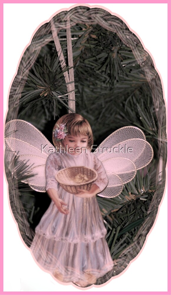 Pink Christmas Angel Card by Kathleen Struckle