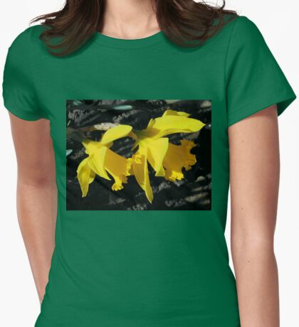 Sunlit Golden Daffodils Womens Fitted T-Shirt