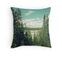 forest green trees and blue sky in Yellowstone National Park. Throw Pillow