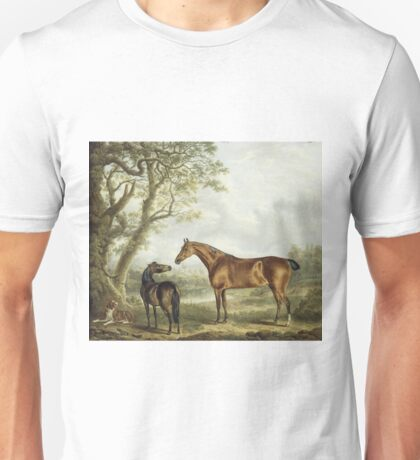 Charles Towne - Hunters And A Spaniel In An Extensive Landscape Unisex T-Shirt