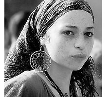 Gypsy Eyes - Portrait in Black and White  Photographic Print