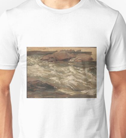 Christian Friedrich Gille - Study Of Rushing Water Unisex T-Shirt