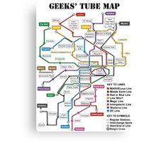 Geeks' Tube Map Canvas Print
