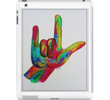 """American Sign Language """"I LOVE YOU"""" with a Border iPad Case/Skin"""